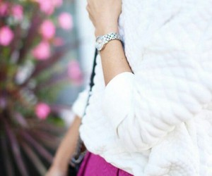 outfit, pink, and white image