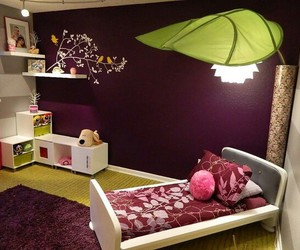 bedroom, green, and purple image