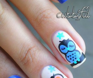 nails, nail art, and owl image