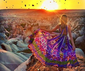 sunset, dress, and travel image