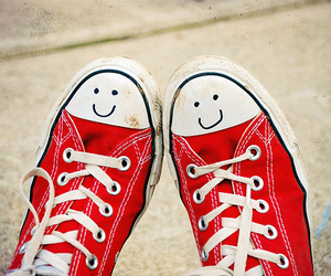 smile, red, and converse image