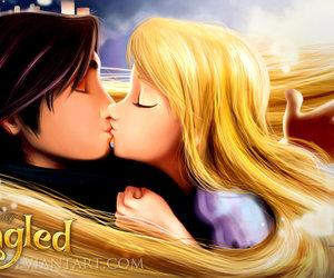 tangled, disney, and kiss image