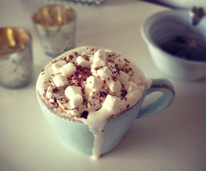 drink, marshmallow, and chocolate image