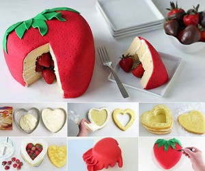 cake, strawberry, and diy image