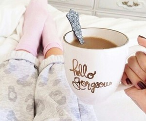 coffee, morning, and bed image