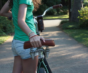 girl, bike, and shorts image