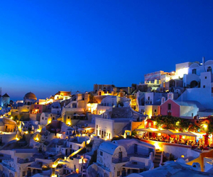 santorini, Greece, and night image