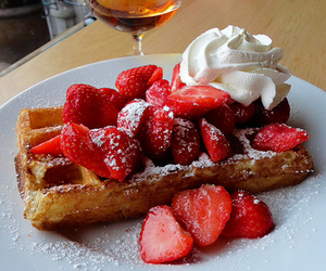 strawberries, food, and waffles image