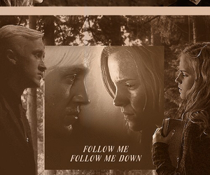 draco malfoy, harry potter, and draco hermione image
