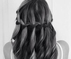 braid, hair, and waterfall image