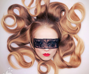 hair, lace, and mask image