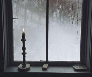 candle, dark, and window image