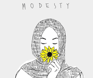 hijab, modesty, and flowers image