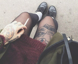 tattoo, grunge, and cigarette image