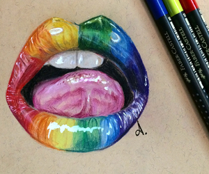 art, lips, and pencils image