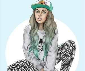 girl, adidas, and drawing image