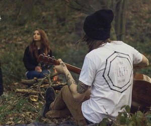 band, forest, and guitar image