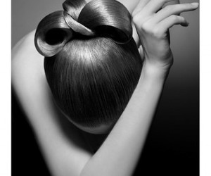 black and white and hair image