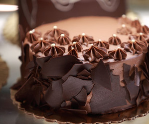 birthday cake, chocolate, and chocolate cake image