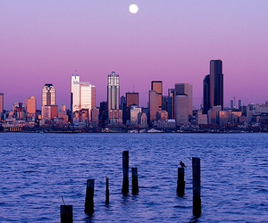 city, moon, and water image