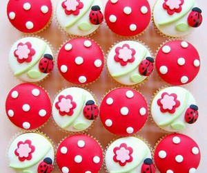 cupcake, food, and ladybug image