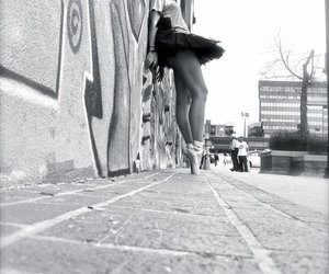 girl, black and white, and converse image