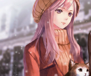 artwork, beanie, and pink image