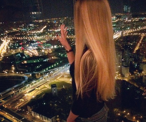 girl, blonde, and city image