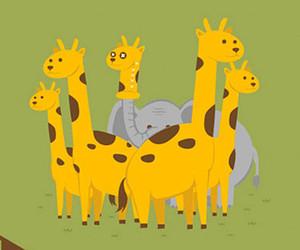 elephant, giraffe, and illustration image