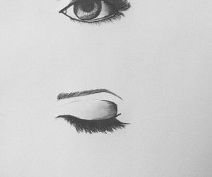 drawings, eye, and female image