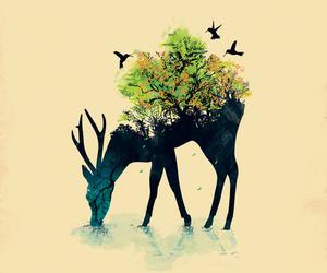 deer, art, and nature image