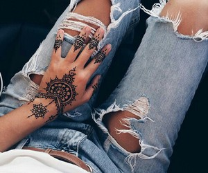 fashion, jeans, and tattoo image