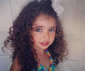 curly hair, green eyes, and little girl image