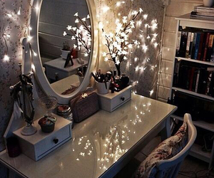 bedroom, dressing table, and fairy lights image