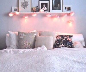 bed, fairy lights, and house image