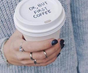 coffee, nails, and sweater image
