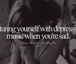 depressed, music, and sad image