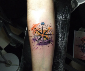 tattoo, compass rose, and placement image