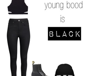 black, outfit, and teenagers image
