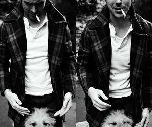 ryan gosling, dog, and black and white image