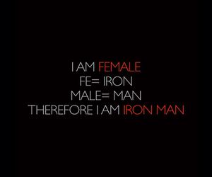 female, iron man, and quote image