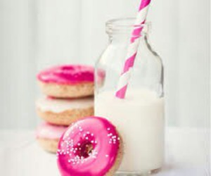 milk, donuts, and pink image