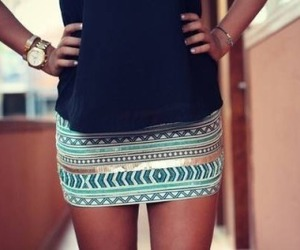 aztec, black, and short skirt image