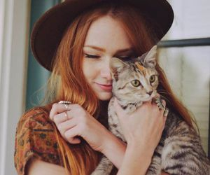 girl, cat, and hat image