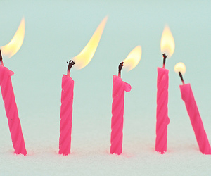 pink, candle, and birthday image