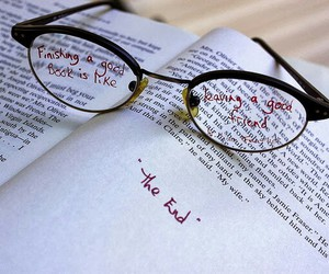 book, the end, and glasses image