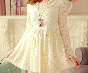 dress, ulzzang, and white image