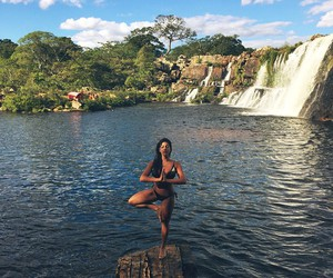 girl and waterfall image