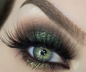 eyelashes, green eyes, and makeup image