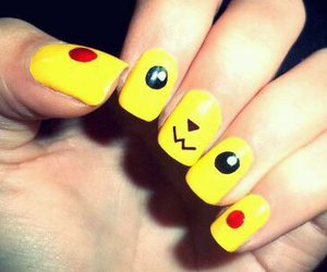 pikachu, nail art, and yellow image